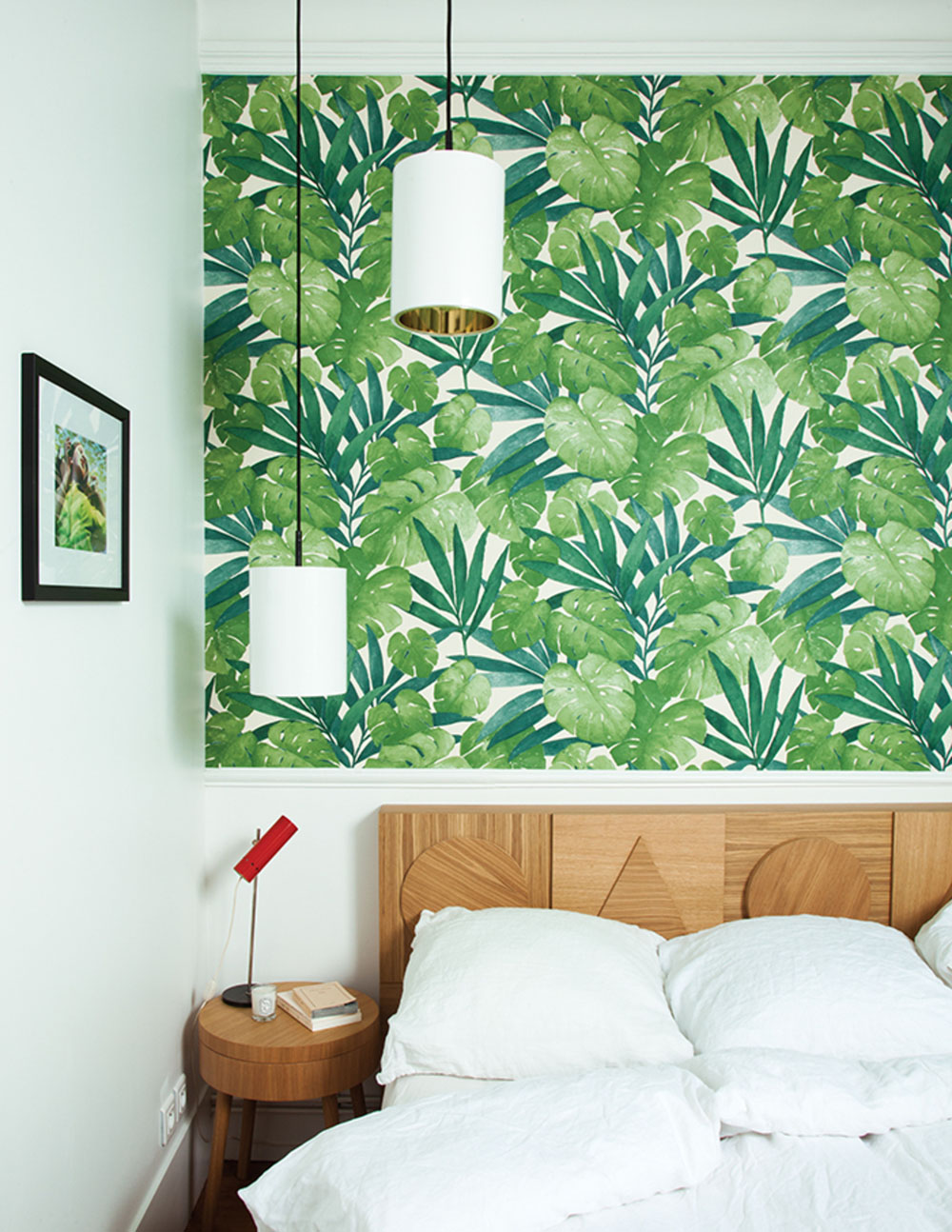 The Wallpaper Is From Arte And Perfectly Plays Off Of Wooden Headboard Sidetable Photo John Clark
